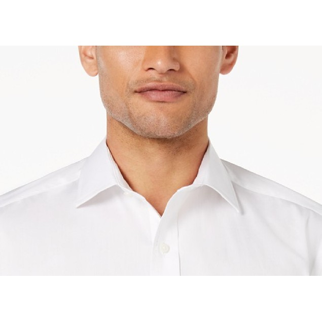 Club Room Slim-Fit Pinpoint Solid French Cuff Dress Shirt White 17x34-35