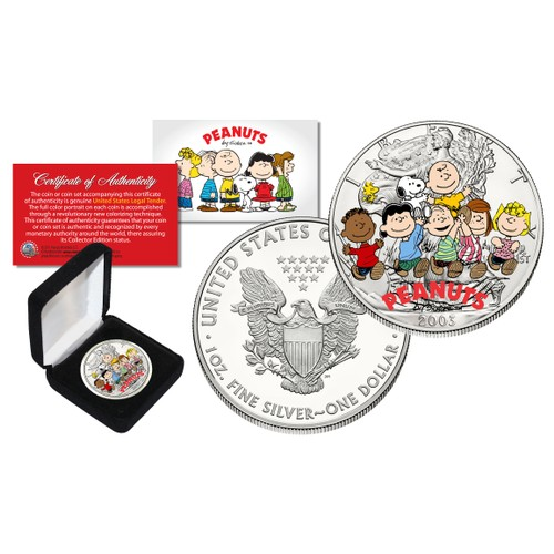 PEANUTS Charlie Brown Snoopy  1 oz PURE 2003 American U.S Silver Eagle with Box