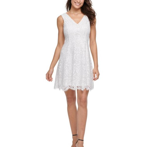 Kensie Women's Lace Fit & Flare Dress White Size 16