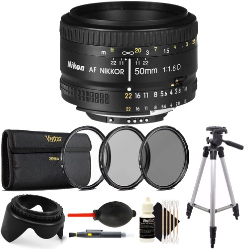 Nikon AF NIKKOR 50mm f/1.8D Lens + 52mm UV CPL ND Lens + Tulip Lens Hood + Lens Pen + Dust Blower + Tall Tripod + 3pc Cleaning Kit