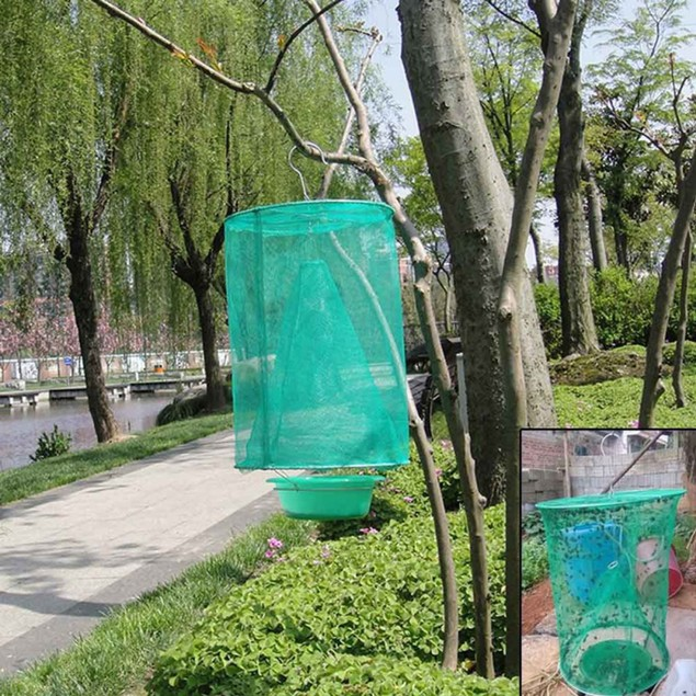 2/4/6Pcs Folding Fly Trap Mesh Flies Catcher Cage with Hanging Hook