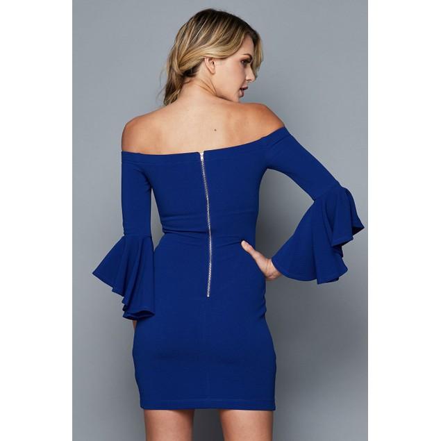 Teeze Me Juniors' Ruffle-Sleeve Off-The-Shoulder Dress Dark Blue Size 7
