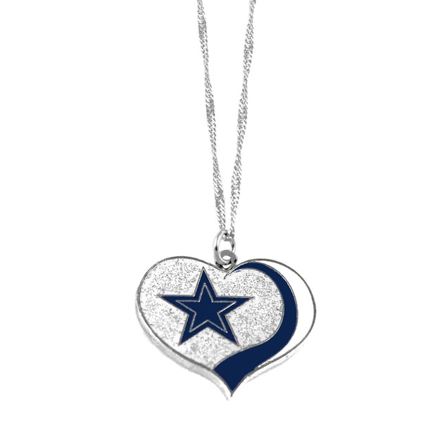 Dallas Cowboys NFL Glitter Heart Necklace Charm Gift