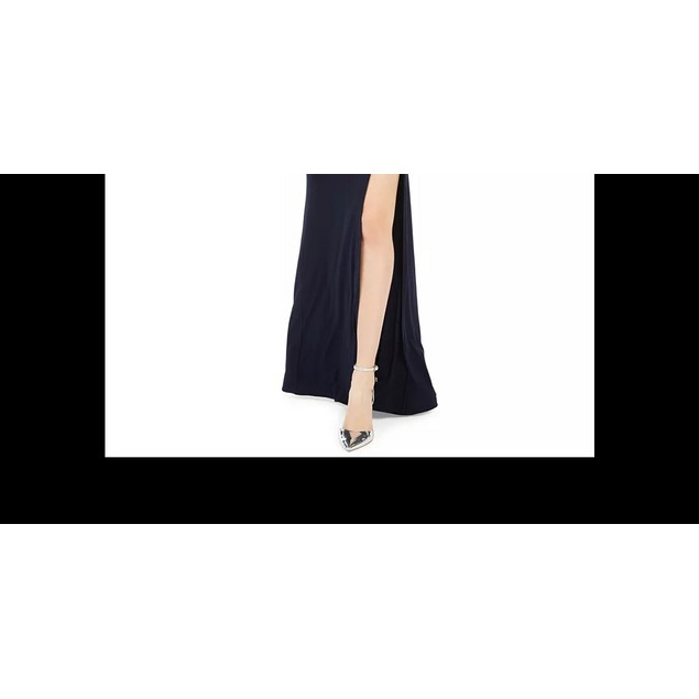 Blondie Nites Juniors' One-Shoulder Slit Gown Navy Size 5