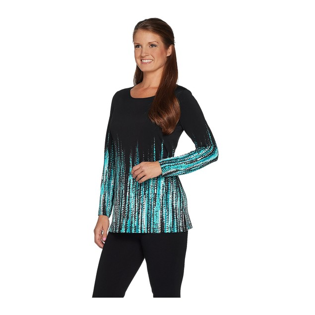 Susan Graver Liquid Knit Long Sleeve Border Print Tunic, X-Small, Teal