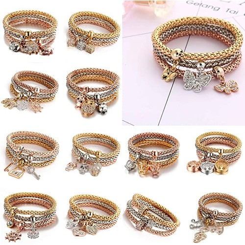 USSSKY Women's Fashion 3 Row Stretch Bracelet with Charms