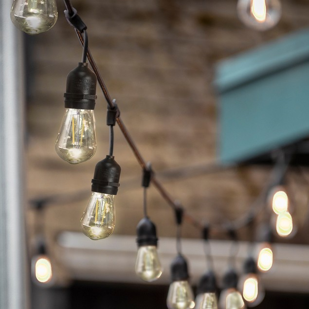 Sterno Home 48-Ft Vintage-Style Waterproof Outdoor LED String Lights – Hanging Edison Bulbs on Black Rubberized Cord – For Backyard, Weddings, Patio