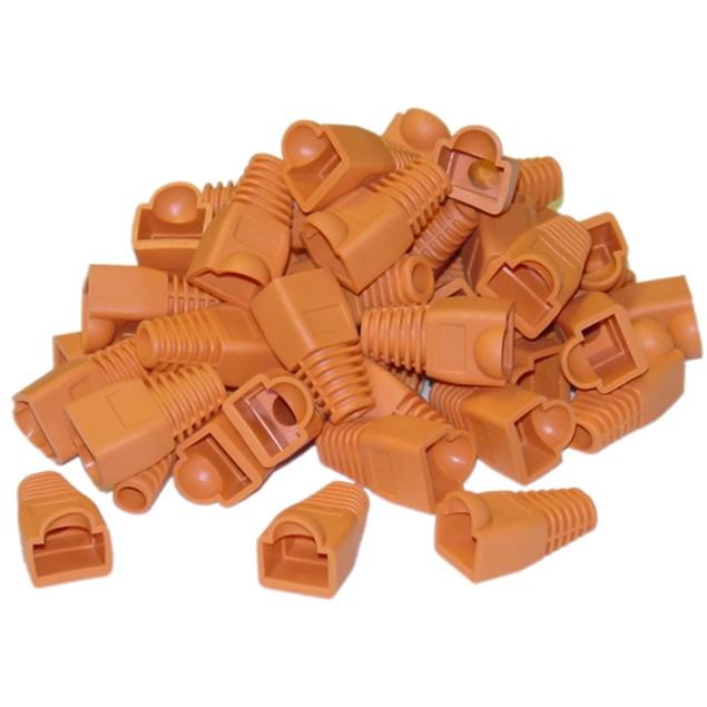 RJ45 Strain Relief Boots, Orange, 50 Pieces Per Bag