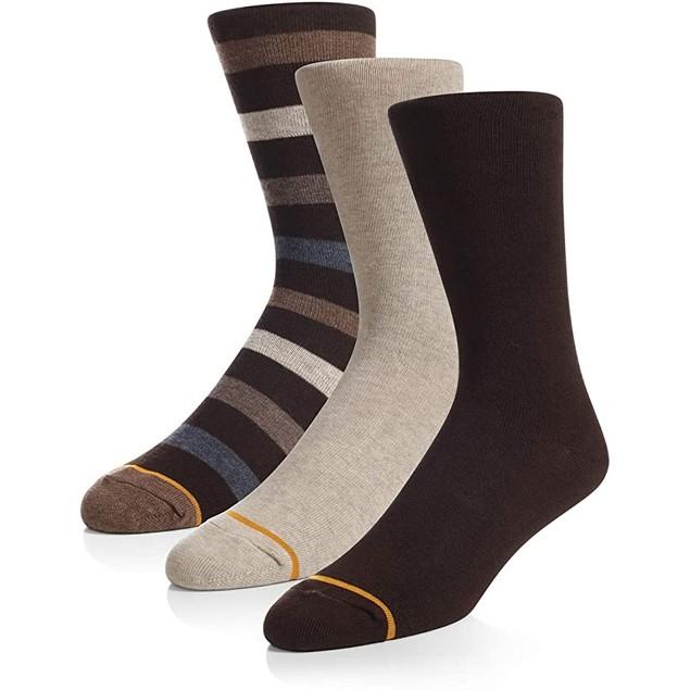 6 Pairs Gold Toe Men's Assorted Casual Crew Socks