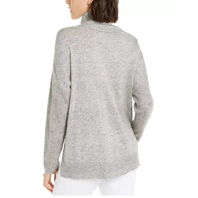 INC International Concepts Women's Melange Cowlneck Sweater Gray Size Large
