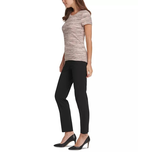 DKNY Women's Petite Crewneck Ribbed Top Brown Size Small