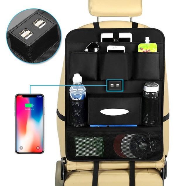 USB Car Phone Charger Back Seat Organizer