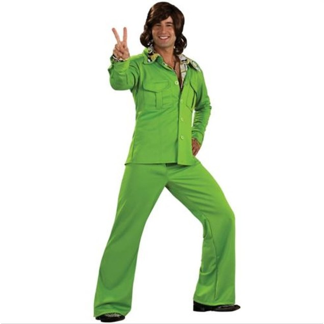 Green Leisure Suit Adult Costume Jacket Pants 70s Hippie Groovy Disco