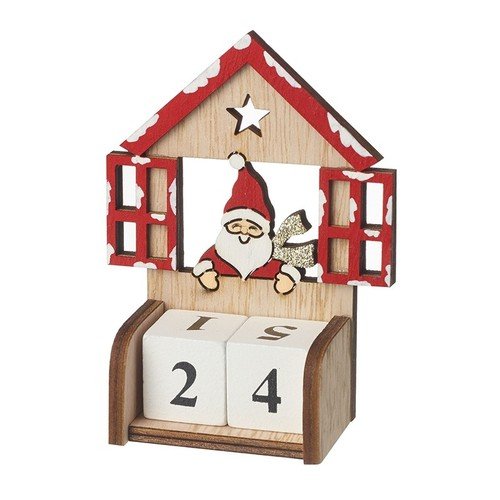 Wooden Santa Count Down To Christmas Advent