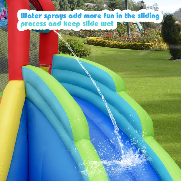 Costway Dual Slide Inflatable Bounce House Pool With Air Blower