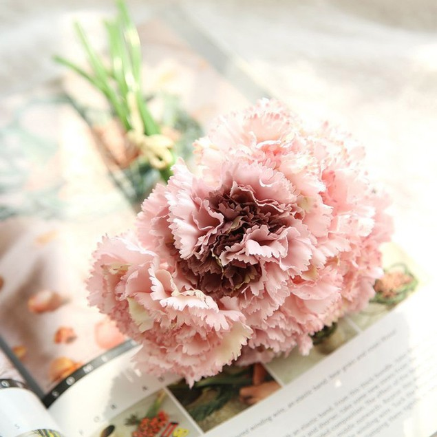 Artificial Fake Flowers Carnations Floral Wedding Bouquet Decor
