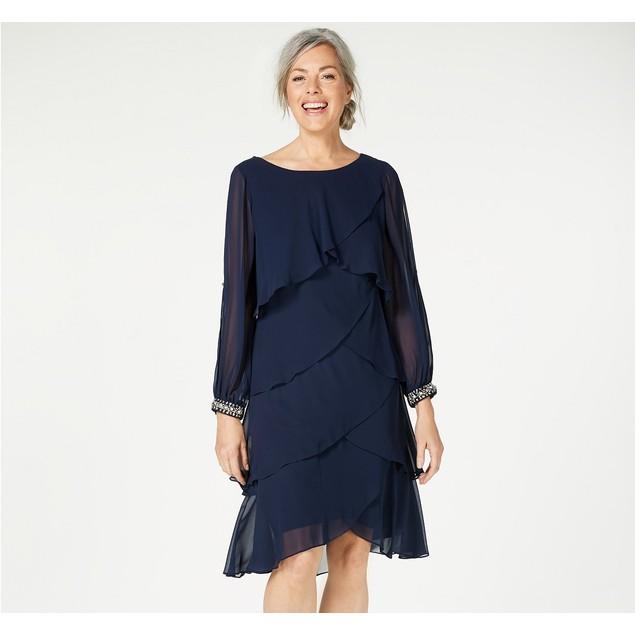 Sl Women's Fashions Long-Sleeve Tiered Chiffon Dress Navy Size 12