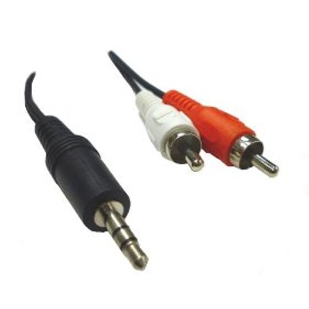 2 x RCA Male to 1 x 3.5mm Male - 6 feet - Adapts stereo headphone