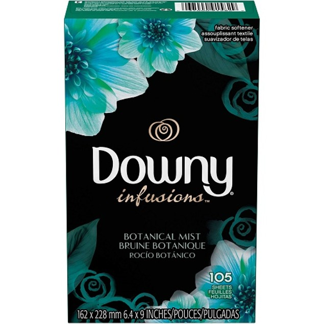 Downy Infusions Botanical Mist Fabric Softener Dryer Sheets 105 Sheets Box