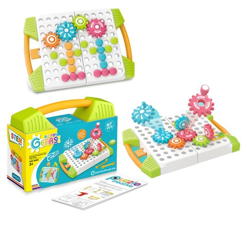 Zummy Button Gears Hand on Constructions that Spins Toys STEM  ( 97 Pieces )