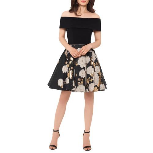 Betsy & Adam Women's Off The Shoulder Organza Dress Black Size 14