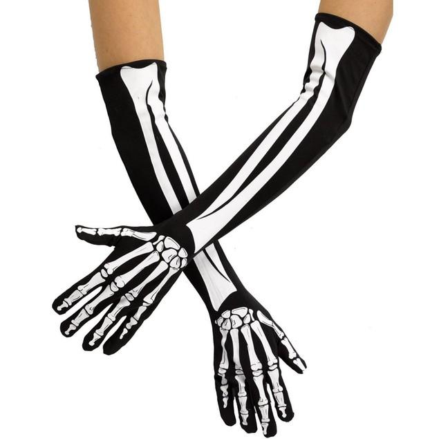 Adult Skeleton Gloves Bones Costume Fingers Hands Goth Biker Racing