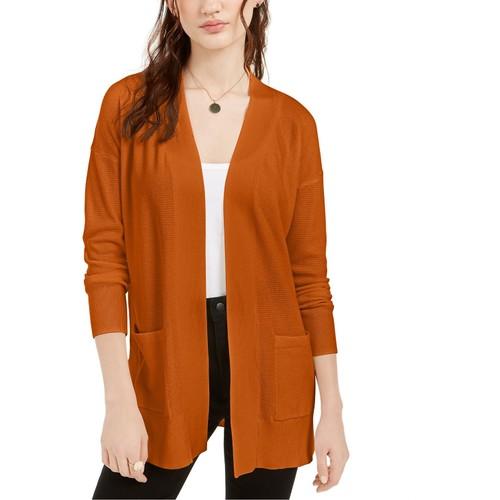 Pink Rose Juniors' Open Cardigan Sweater Brown Size Large