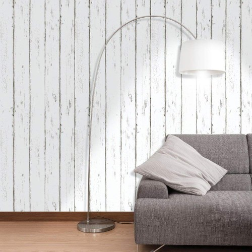 Vintage Distressed White Maple Wood Grain Peel and Stick Wall Decor Wallpaper, 17.7in x 9.8ft