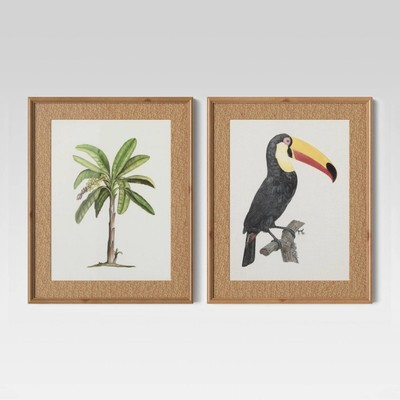 Threshold Tropical Palm and Toucan 16 Inches x 20 Inches Wall Art Prints, 2