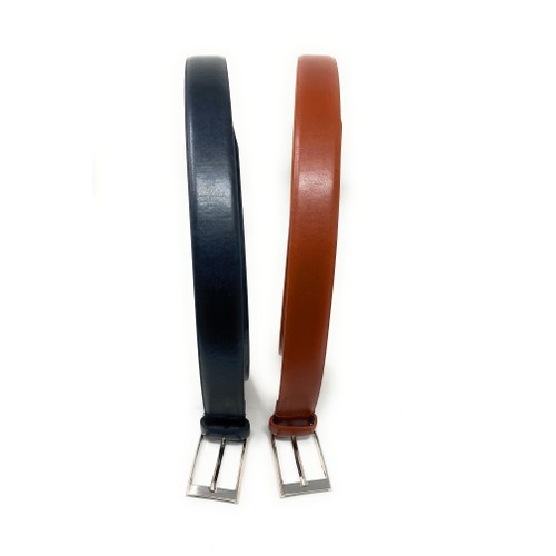 2-Pack Men's Genuine Leather 1'' Dress Belts w/ Buckle-  Black/Brown