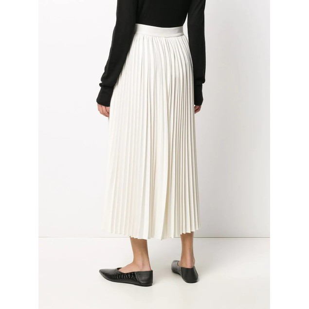 CO Women's Essentials Pleated Midi Skirt White Size Small