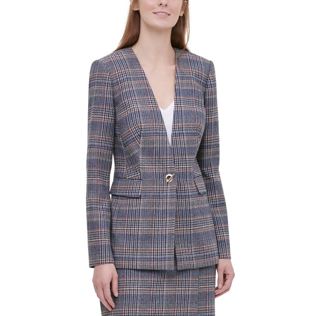 Calvin Klein Women's Plaid Tweed Blazer Brown Size 6
