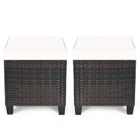 Costway 2PCS Patio Rattan Ottoman Cushioned Seat Coffee Table Furniture Bei