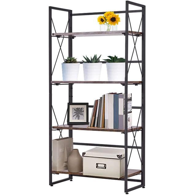 BIGTREE 4 Tier Bookshelf, Modern Home Decor Standing Metal Frame Book Shelves