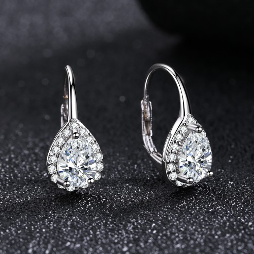 Sterling Silver Pear Omega Lever-back Halo Earring  with Genuine Crystals