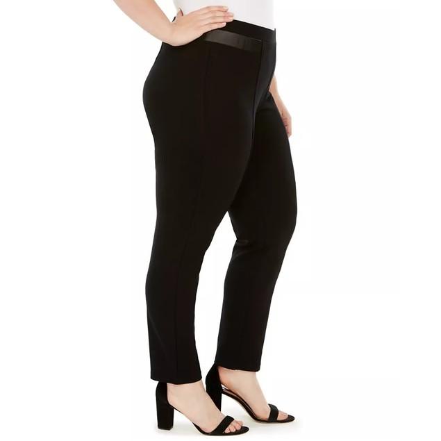 JM Collection Women's  Plus Size Faux-Leather-Trim Pants Black Size 28W