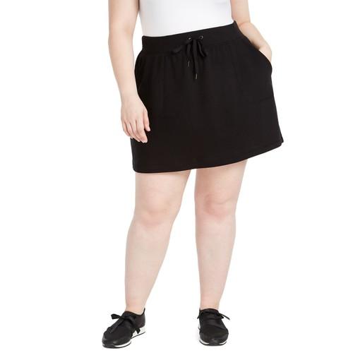 Ideology Women's Plus Size Drawstring-Waist Skort Black Size XX-Large