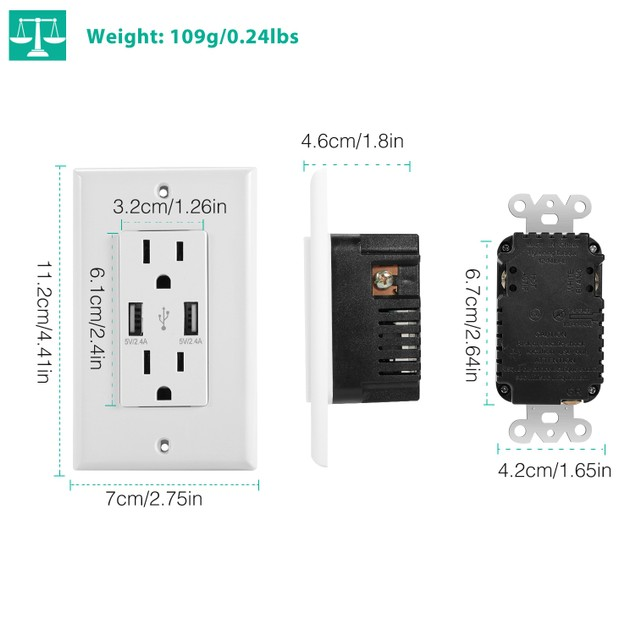 USB Wall Outlet Dual 2.4A USB Wall Charger