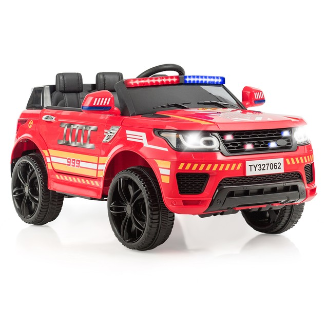 Costway Kids Ride on Car, 12V Battery Powered Electric Police Trucks w/ 2.4G Remote