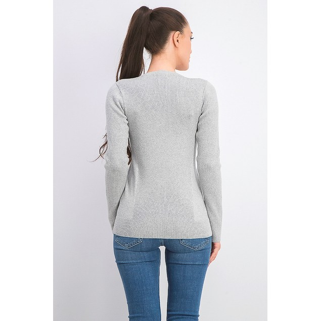 DKNY Women's Metallic-Threaded Embellished Sweater Silver Size Extra Large