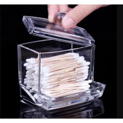 Clear Acrylic Makeup Storage Cotton Swab Organizer Box