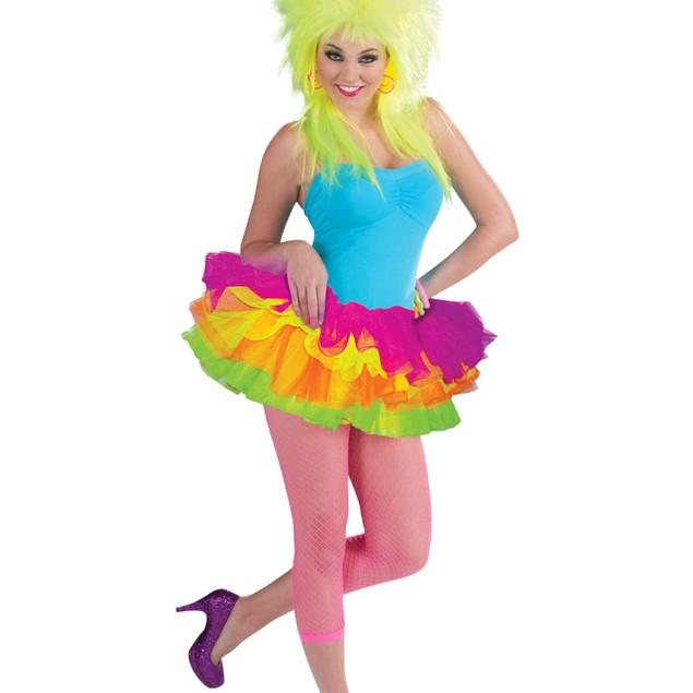 Neon Rainbow Adult Tutu Ballerina Ballet Pettiskirt Forum Rave EDM Costume