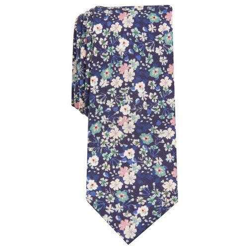 Bar III  Men's Snyder Skinny Floral Tie  Purple Size Regular