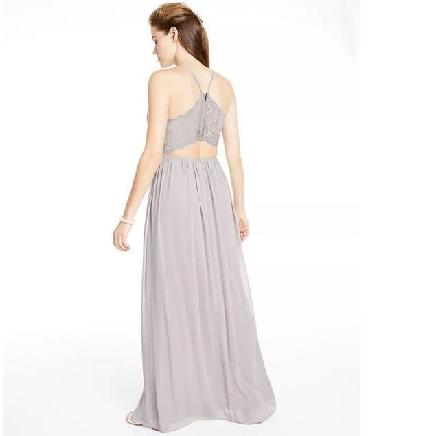 Emerald Sundae Juniors' Women's Lace & Chiffon Gown Gray Size XX-Small