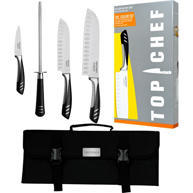Top Chef  Professional 5 Piece Stainless Steel Knife Set - Portable