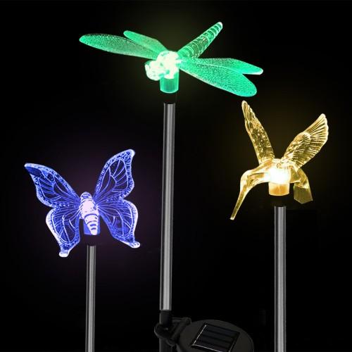 3pk Solar Light Pathway Outdoor Garden Stake LED Lighting Color Animals