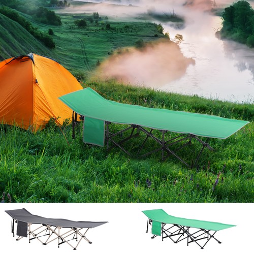 Single Person Wide Folding Camping Cot Outdoor Sleeping Bed w/ Carry Bag