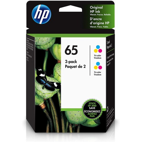 HP 65 | 2 Ink Cartridges | Works with HP Deskjet 2600 Series, 3700 Series, HP ENVY 5000 Series, HP AMP 100, 120, 125, 130 | Tri-color | 6ZA55AN