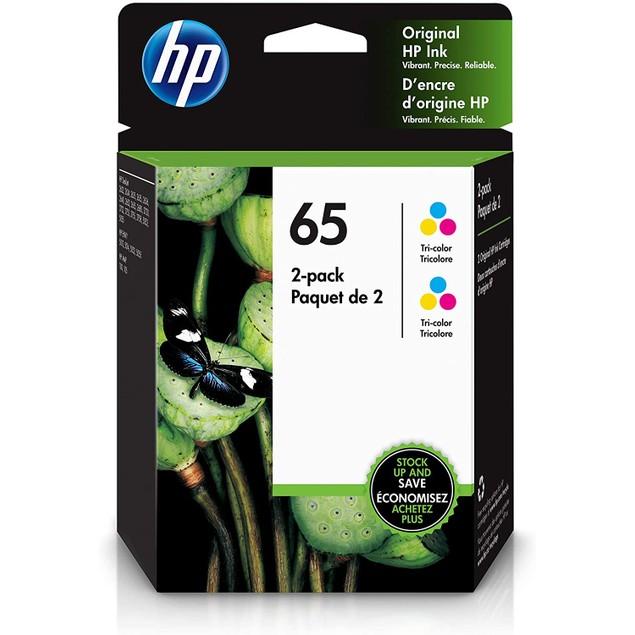 HP 65   2 Ink Cartridges   Works with HP Deskjet 2600 Series, 3700 Series, HP ENVY 5000 Series, HP AMP 100, 120, 125, 130   Tri-color   6ZA55AN