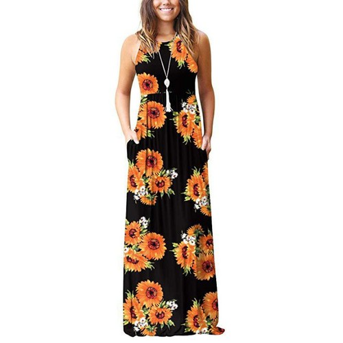 Women's Sleeveless Casual Long Maxi Dresses with Pockets
